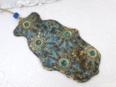 Ceramic Hamsa decoration   Beautiful blue brown and by orlydesign