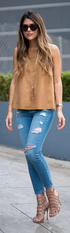 70's Camel Suede Top Outfit Inspo by The Girl From Panama