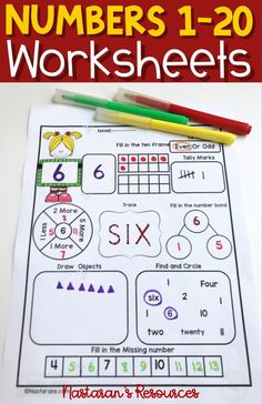 Numbers printable worksheets contain 11 activities . Perfect for preschool, kindergarten and grade. Teaching Numbers, Math Numbers, Teaching Math, Teaching Tools, Elementary Math, Kindergarten Math, Math Resources, Math Activities, Activities For 1st Graders