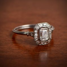 A beautiful emerald-cut vintage style engagement ring.