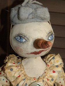 Primitive Folk Art Whimsical Blue Eyed Snow Snowgal Winter Doll by Mustard Seed