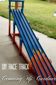 DIY Race Track Tutorial       Mr. G built this awesome race track for  Noah's Race Car Birthday Party . He made a quick sketch of the  trac...