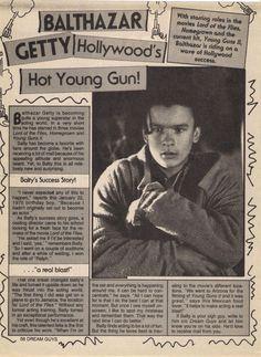 BALTHAZAR GETTY clipping - Hollywood's Hot Young Gun! - Natures Joy NY
