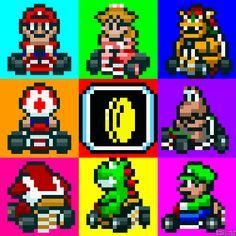 Super Mario Kart (SNES) Nintendo All characters and items Mario Kart Ds, Super Mario Kart, Mario And Luigi, Super Nintendo, The Legend Of Zelda, Image Mario, Pixel Art, Videogames, Pixel Animation