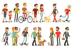 Women and Men in Various Lifestyles. Cartoon by MicrovOne Women and men in various lifestyles. Character people walk, illustration of man and woman walking Boy Character, Character Design, Cartoon People, People Illustration, Guy Drawing, Female Poses, Free Vector Art, Young People, Image Now