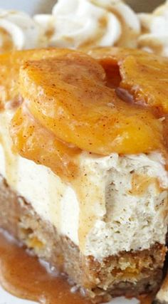 This Peach Caramel Blondie Cheesecake is the stuff dreams are made of. A peach and cinnamon filled blondie is topped  with caramel no bake cheesecake, cinnamon p