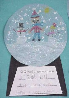 We read the book, The Snowglobe Family and made snowglobes and wrote about living in a snowglobe. This one says, If I lived in a snowglobe I would have a snowball fight.I I had my students make snow globes out of a clear paper plate and glitter! Come check it out! and many, many more activities!