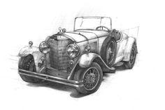 Old Car Drawing by Aleksandra Kamyszek. Made in DOMIN Poznań drawing school. Stary samochód autorstwa Aleksandry Kamyszek. Praca z zajęć w DOMIN Poznań. https://www.facebook.com/domin.poznan