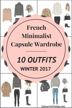 Create a French Minimalist Capsule Wardrobe Winter 2017 - Transform your closet using a black sweater, windowpane shirt, camel cardigan, camel coat, black pleated skirt, gray ponte skirt, beige cardigan, white tee, black tee, striped turtleneck, striped top, gray turtleneck sweater, black jeans, black leggings, gray jeans, gray dress pants and beige tunic sweater.