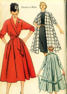 LOVELY Swing Coat, Robe or Wrap Coat Dress Pattern SIMPLICITY 3761 Beautiful Design Size Small Vintage Sewing Pattern-Authentic vintage sewing patterns: This is a fabulous original dress making pattern, not a copy. Because the sewing patterns a Retro Mode, Vintage Mode, Moda Vintage, Look Fashion, Retro Fashion, Vintage Fashion, Fashion Sewing, Fashion Flats, Petite Fashion