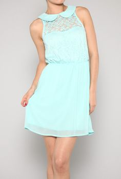 Remnants of Romance Sleeveless Petan Pan Collar Lace Dress in Mint