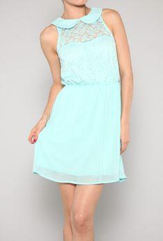 Remnants of Romance Sleeveless Petan Pan Collar Lace Dress in Mint Blue