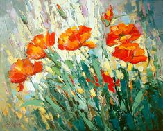 Original Wall Art Poppies oil on canvas Painting by by spirosart