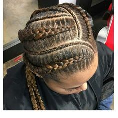 The made our hair… Black Girl Braid Styles, Black Girl Braids, Girls Braids, 4 Braids, Braid Hair, Plaits, Ghana Braids Hairstyles, African Hairstyles, Weave Hairstyles