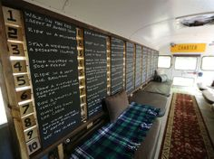 """http://channel.nationalgeographic.com/channel/building-wild/galleries/revealing-backwoods-bus/at/ultimate-life-goals-2078719/ Old bus become sleeping quarters attached to a cabin. Love the bucket list chalkboard wall with numbers that flip to and """"x"""" when you've completed the item on the list."""