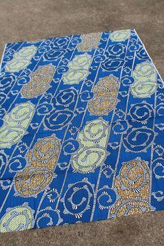 BATIK genuine African wax print fabric - Blue, Orange, Lime Green Spirals