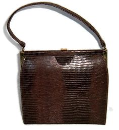 2453a3757896 HOLIDAY SALE Vintage Alligator Handbag - Coffee Brown Purse w Gold Tone  Hardware by Dover - 1950s Mid Century Style - Faux Alligator - Gift