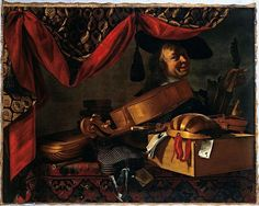 Evaristo Baschenis (1617-1677), Still Life with musical instruments and portrait