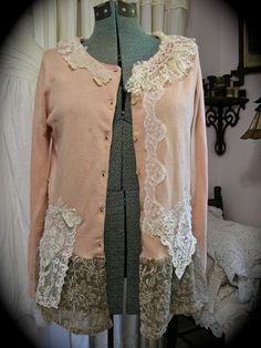 Shabby Vintage Sweater, altered upcycled clothing, romantic bohemian cottage chic, MEDIUM