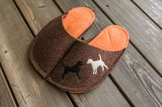 Slippers, Dog Slippers for Adults, Slippers for Kids,  Puppy Patch,  Brown Orange Wool Felt, Fuzzy Slippers,  Groomsmen Gift, Animal Slipper by byBears on Etsy https://www.etsy.com/listing/214705940/slippers-dog-slippers-for-adults