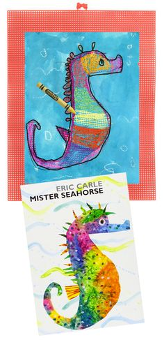 A great book and project for little ones learning about amazing animals. Plastic embroidery mesh mats add texture and help wet paintings get into a drying rack. #seahorse #carle