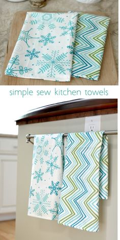simple sew technique for making kitchen tea towels with perfect corners