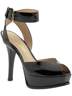 "Pour La Victoire Taryn Sandal  $270, now $199.99 on piperlime  Platform sandal Leather sole. Heel measures approximately 4.5"", Platform measures approximately 1.25"" platform  Leather lining  Leather outsole  Buckle closure  Upper: 100% patent leather"