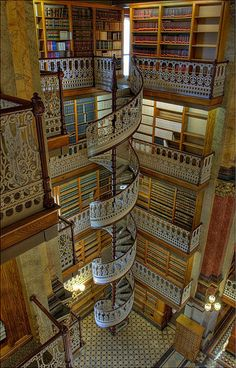 Spiral staircases and bookcases!