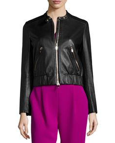 Buckley Zip Front Lamb Leather Jacket - DVF
