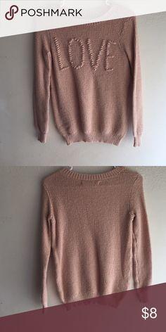 Sweater Knitted light pink love sweater LC Lauren Conrad Sweaters Crew & Scoop Necks