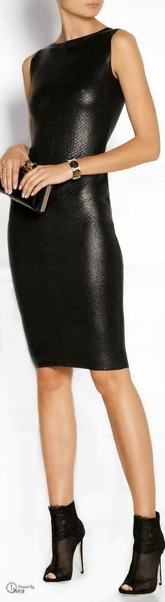 Ohhhh so gorgeuos leather mini dress with cool heels and clutch