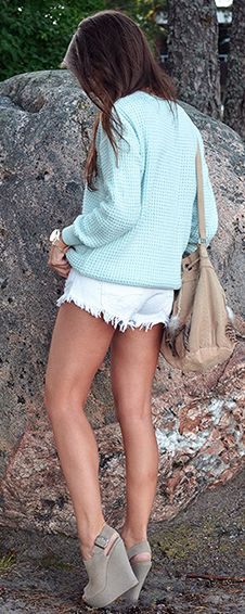 mint sweater, white cutoffs and nude wedges