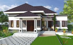 New Modern House, Modern Bungalow House, Modern House Plans, Minimalist House Design, Minimalist Home, Single Floor House Design, Affordable House Plans, House Design Pictures, Mansions Homes