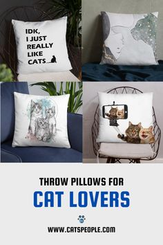 Throw pillows for cat moms and cat dads with cute cat inspired designs. #catmompillow #catdadpillow #catloverpillow #catownerpillow #catladypillow #catmomgift #catmomhomedecor Cat Lover Gifts, Cat Gifts, Cat Lovers, Unique Cats, Cat Dad, Cat Design, Home Decor Items, Home And Living, House Warming