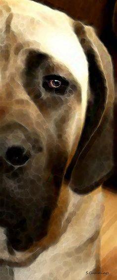 Mastiff Dog Art - Big Soft Love by Sharon Cummings.