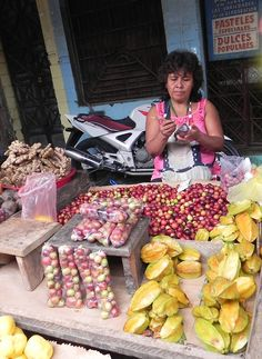 Starfruit and camu-camu for sale in Belén market, Iquitos, Peru. A local fruit from the Amazon, Camu-camu is the highest naturally-occurring source of vitamin C. While they taste like hard, sour pellets, they can be blended to make juice or mixed with pisco in a cocktail.