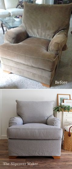 A washed, ticking slipcover covers the faded velveteen on this Wesley Hall chair just fine.