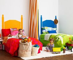 Create your own headboard by painting it on the wall (Boy + Girl sharing room)