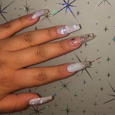 Cloud acrylic nails🌟 . . . . #bioseaweedgel #bsgpeony #bsgperiwinkle #valentiobeautypure #glamandglits #bluenails #lightbluenails Black Acrylic Nails, Best Acrylic Nails, Cinderella Nails, Les Nails, Light Blue Nails, Nail Pops, Long Nail Designs, Brittle Nails, Birthday Nails