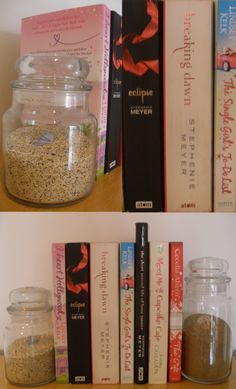 Reused Yankee candle jars filled with sand and shells to create Bookends. I do have just a few of these...