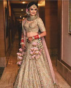 A Punjabi bride's wedding attire is incomplete without the Kalira. Indian Bridal Outfits, Indian Bridal Lehenga, Indian Bridal Fashion, Indian Bridal Makeup, Indian Bridal Wear, Indian Designer Outfits, Indian Dresses, Bridal Dresses, Indian Wear