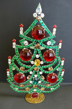 "6 5"" Elegant Vintage Christmas Standing Tree with Czech Rhinestones"
