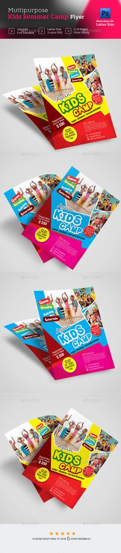 Kids Summer Camp Trifold Brochure  Brochures Template And Camping