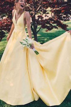 Satin Wedding Dresses Yellow long ball gown, 2018 long homecoming dress prom dress party dress, charming v-neck low-back prom dress Yellow Homecoming Dresses, Grad Dresses, Prom Party Dresses, Ball Dresses, Sexy Dresses, Ball Gowns, Dress Prom, Yellow Formal Dress, Yellow Dress Wedding
