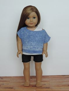Upcycled Off the Shoulder T-Shirt  - American Girl Doll Clothes