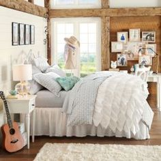 Girls Bedroom Furniture & Girls Room Ideas | PBteen Love this cover!!! #ruffles