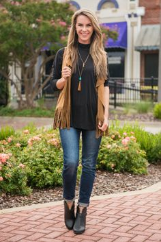 A Little Help From My Fringe Vest, Brown - The Mint Julep Boutique