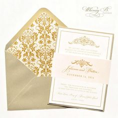 Gold Invitation Gold Wedding Invitations Blush by WhimsyBDesigns