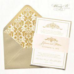 Gold Invitation, Gold Wedding Invitations, Blush, Champagne, Blush, Pink, Gold, Victorian, Elegant, Vintage Invitation, Vintage Invitations