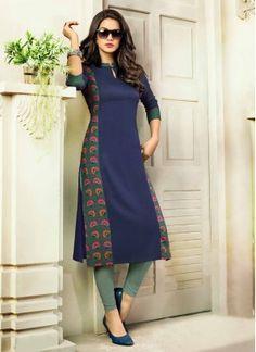 Digital #print  #kurti  In #blue  #colour New Kurti Designs, Printed Kurti Designs, Simple Kurti Designs, Salwar Neck Designs, Churidar Designs, Kurta Neck Design, Kurta Designs Women, Kurti Designs Party Wear, Blouse Designs